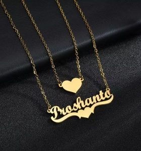 Double chain heart name pendant