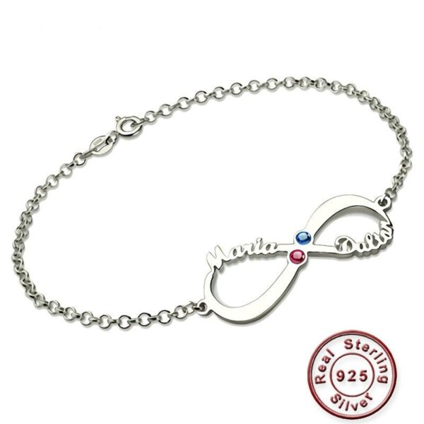 Infinity Bracelet with Birthstone Sterling Silver
