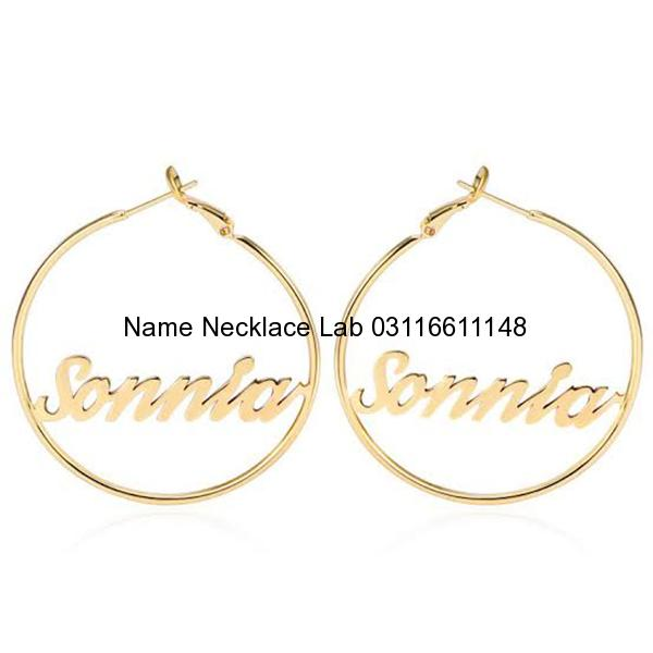 real gold name earrings, custom name earrings studs, personalised name earrings, name earrings bamboo, custom name earrings hoops, pictures on gold name earrings, big hoop name earrings, script name earrings, Name earrings Karachi Pakistan Name earrings Lahore Name earrings Islamabad Custom Earrings Pakistan