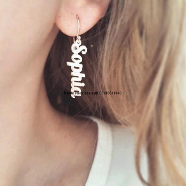 real gold name earrings, custom name earrings studs, personalised name earrings, name earrings bamboo, custom name earrings hoops, pictures on gold name earrings, big hoop name earrings, script name earrings, Name earrings Karachi Pakistan Name earrings Lahore Name earrings Islamabad Custom Earrings Pakistan